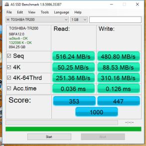 Toshiba TR200 960GB AS SSD
