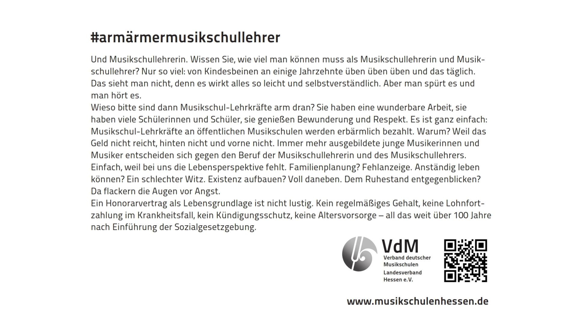 #armärmermusikschullehrer | Öffentlichkeitsarbeit für die Musikschulen im VdM Hessen