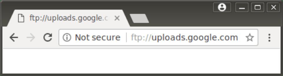 "Google Chromec 63 FTP ""Not Secure"" warning"