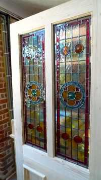 A Beautiful Victorian Style 2 Panel Stained Glass Front ...