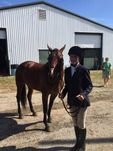 Ella Moschinski with McDermott The pair competed in walk/trot pleasure and eq, fun classes, contesting and easy gaited. This year they won 1st place in easy gaited pleasure and english equitation at the Franklin County Fair in Hilliard, Ohio.