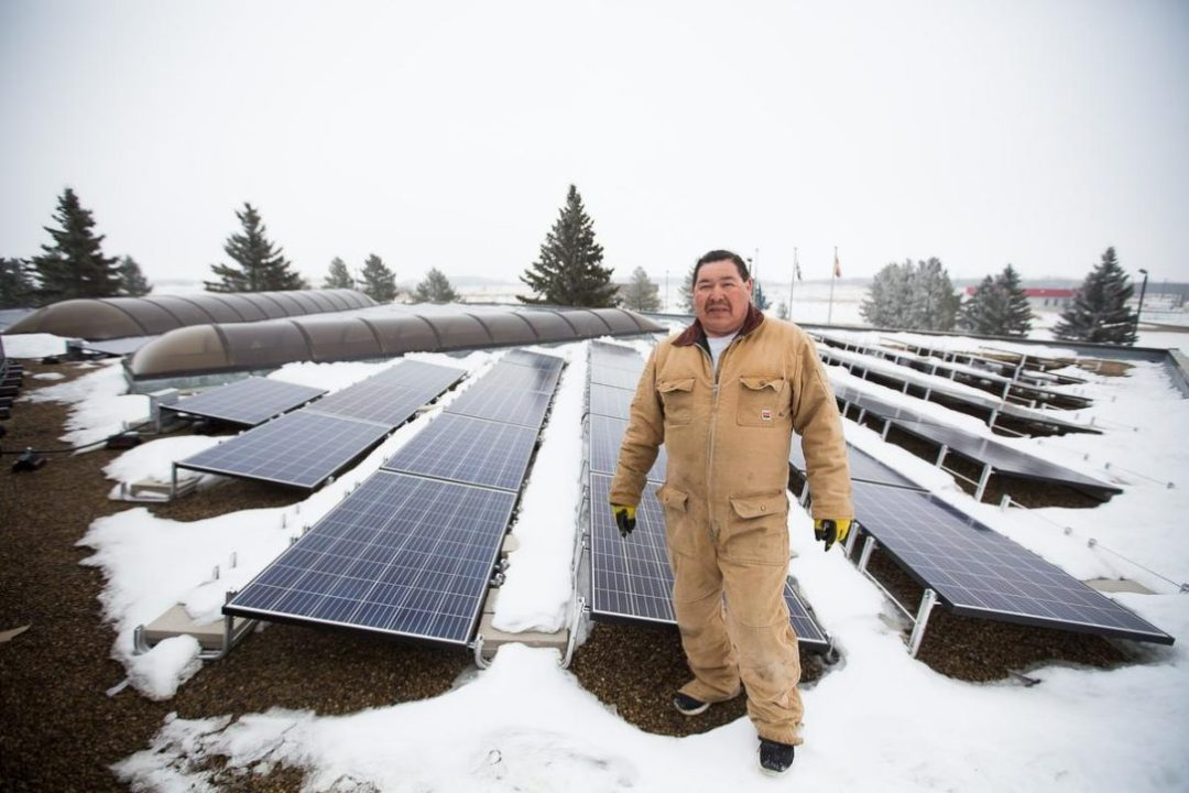 Lionel Twins maintains the solar panels at the Louis Bull Tribe, south of Edmonton.