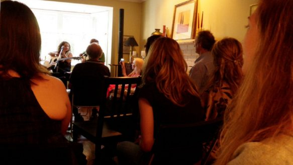 The musicians get up close and personal with the audience last June in Joanne Sleightholm's livingroom.