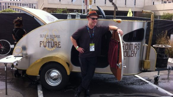 "Musician Thomas Dolby in his travelling ""time capsule."""