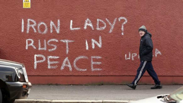 Graffiti referring to the death of former prime minister Margaret Thatcher, on the Falls Road in West Belfast, sums up some of the many emotions that boiled over at the news of her death.