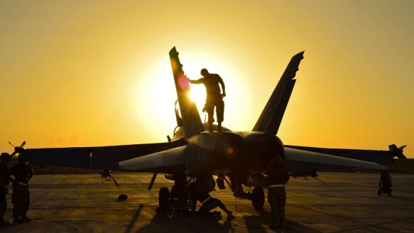 Canadian ground crew check a CF-18 fighter jet in Kuwait after a sortie over Iraq during Operation Impact in November, 2014. A Kurdish militia soldier has reported that a strike by CF-18 fighters near Mosul, Iraq, in January may have killed between six and 27 civilians.