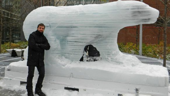 Equiterre head Steven Guilbeault, pictured with one of the sculptures. The campaign in which the polar bear melted over the course of about three weeks was intended to raise awareness about the effects of climate change in the Arctic. It also coincided with the United Nations climate change conference in Paris, France.