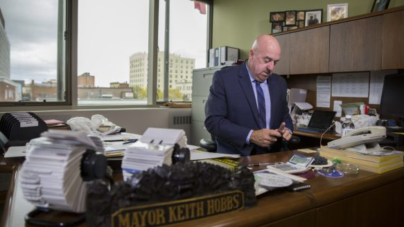 Mayor of Thunder Bay Keith Hobbs says all cities have problems with racism, but cities need to admit they have the problem before they have any hope of fixing it.  One rape. A hate crime. Thunder Bay's simmering divides come to gentle tb hobbs desk