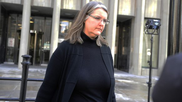 Patricia O'Byrne leaves the courthouse at 361 University Ave. in Toronto in January 2012.
