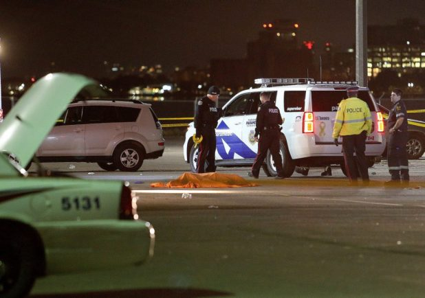 An early-morning shooting outside the Rebel nightclub in the Port Lands has left two men in their 20s dead.