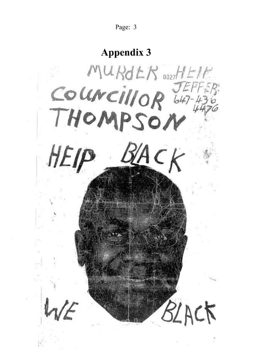 Distressed man made posters featuring a councillor and the