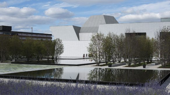 The Agha Khan Museum and Ismaili Centre looms over the Don Valley Parkway.