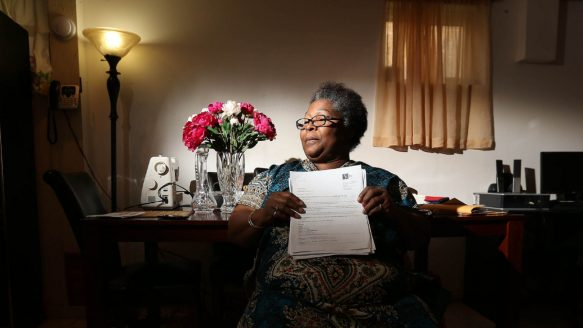 """Cyrilla Hamlet, who had her credit ratiing destroyed after moving out of an apartment because the landlord falsly claimed they owed money. One of the city's biggest corporate landlords, Metcap Living, also runs an in-house collections agency, Suite Collections, to go after clients for backed rent. But tenants report that years after moving out, they are pursued for ficticious debts due to """"lack of proper notice"""" to move out."""