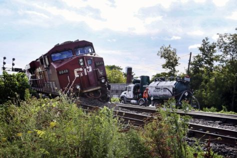 A CP Railway freight train derailed near Bathurst and Dupont Sts., early Sunday after two trains collided, causing a diesel fuel spill. CP blames human error for the collision.