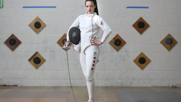 Canadian pentathlon athlete Kelly Fitzsimmmons is rarely caught standing still, as she juggles training and work seven days a week as she prepares for the Pan Am Games.