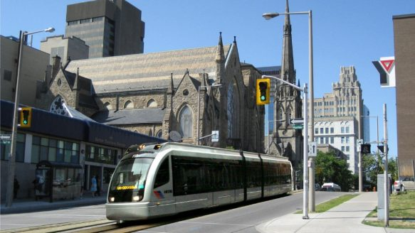 Artist's rendition of an LRT vehicle on James Street in Hamilton.