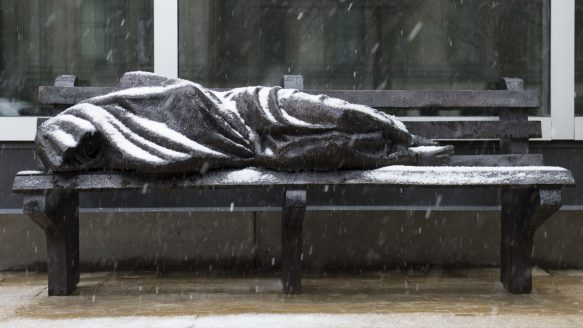 Sculptor Timothy Schmalz has created a bronze sculpture called Jesus the Homeless outside Regis College, the Jesuit college at U of T.