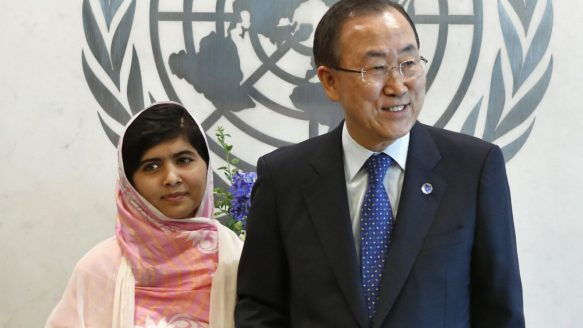 Malala Yousafzai, the teenage activist for girls' education who was shot in the head by the Taliban last October, stands next to UN Secretary-General Ban Ki-moon before giving her speech to the UN last week. Yousafzai has been criticized in her home of Pakistan as a tool of the West.