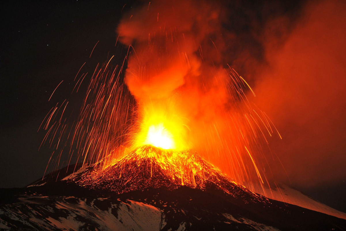 Mount Etna Volcano In Italy Erupts Lighting Up The Nighttime Sky