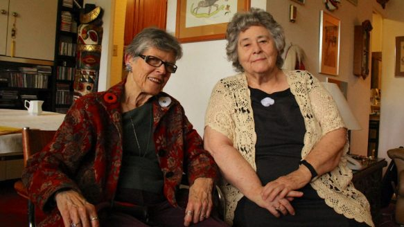 Long-time peace activists Phyllis Creighton, left, and Metta Spencer were recognized by Voice of Women for their activism.
