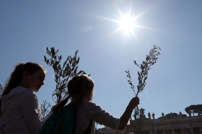Observers held palm fronds and olive braches to commemorate Holy Week.