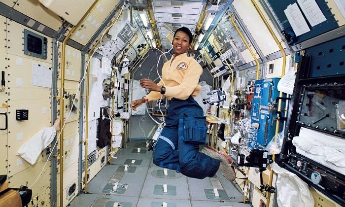 A photograph of Mae Jemison in space.