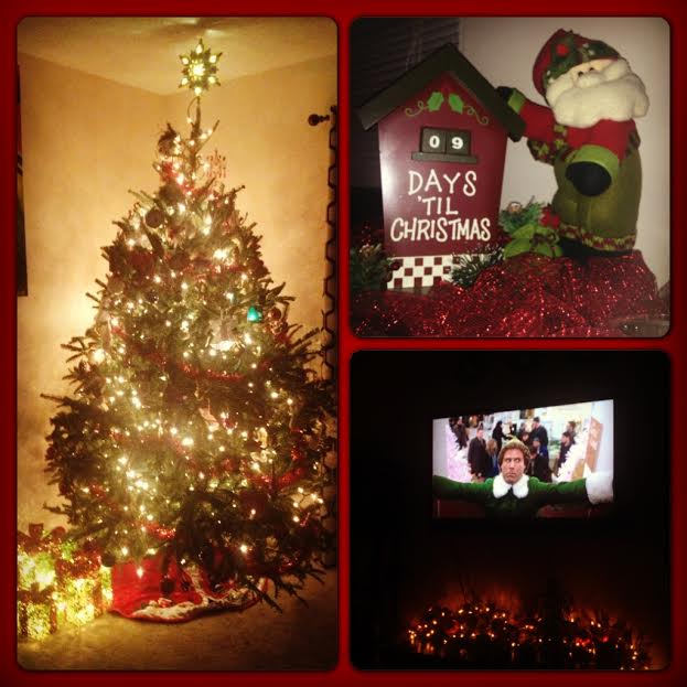 Christmas time in our first house circa 2013. Not from Christamas decorating day...one of those other nights we watched Elf.