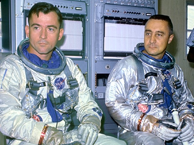 "Gemini 3 Crew: John Young (L) and ""Gus"" Grissom (R)"