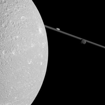 Cassini flyby of Saturn moon Dione