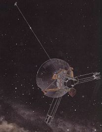 Artist depiction of Pioneer spacecraft in deep space.