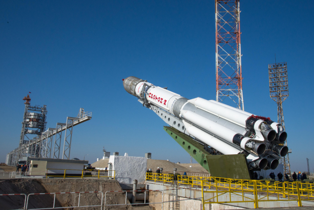 ExoMars 2016 in the Proton-M launcher at the launch pad in Baikonur, Kazakhstan.