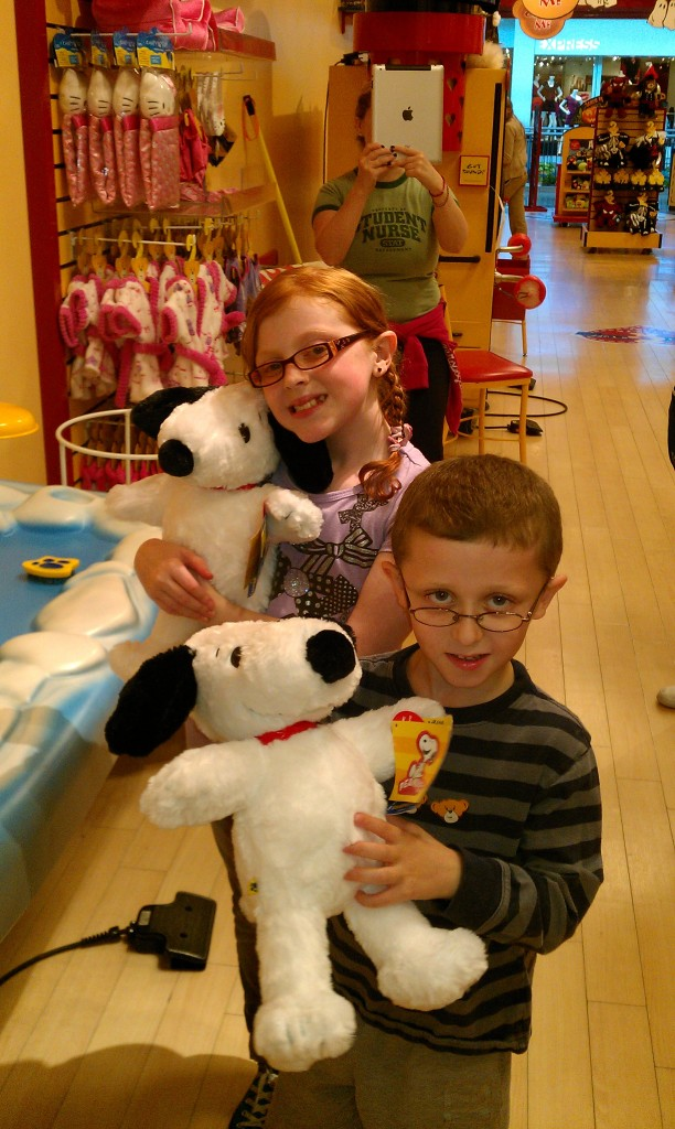 Madi and Jack with their freshly made Snoopys ( they gave them hearts and made a wish)