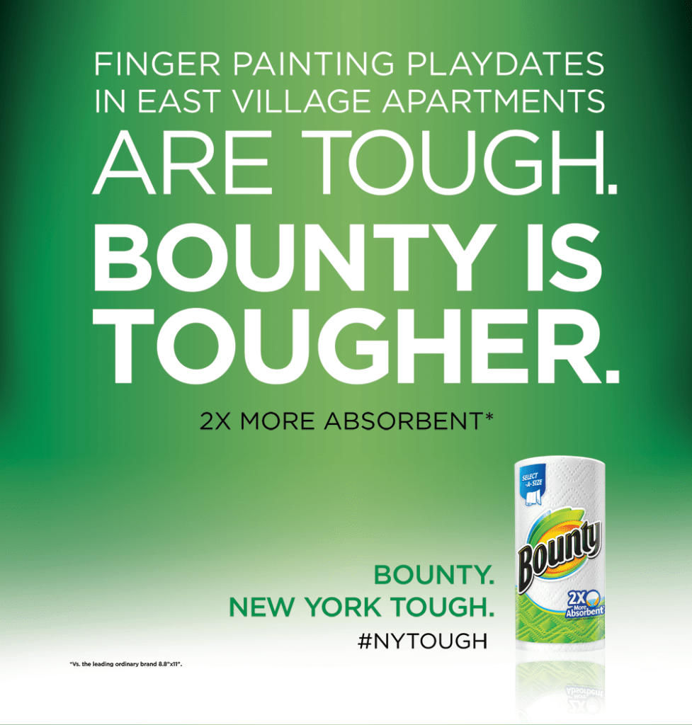 Finger painting playdates in East Village apartments are tough. @Bounty is tougher. #NYTough