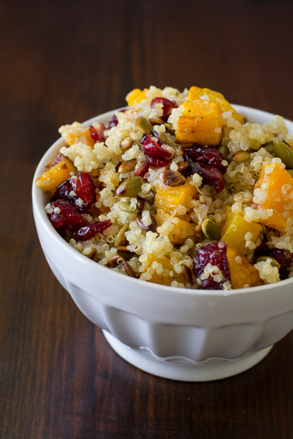 Quinoa with Roasted Squash, Dried Cranberries & Pepitas