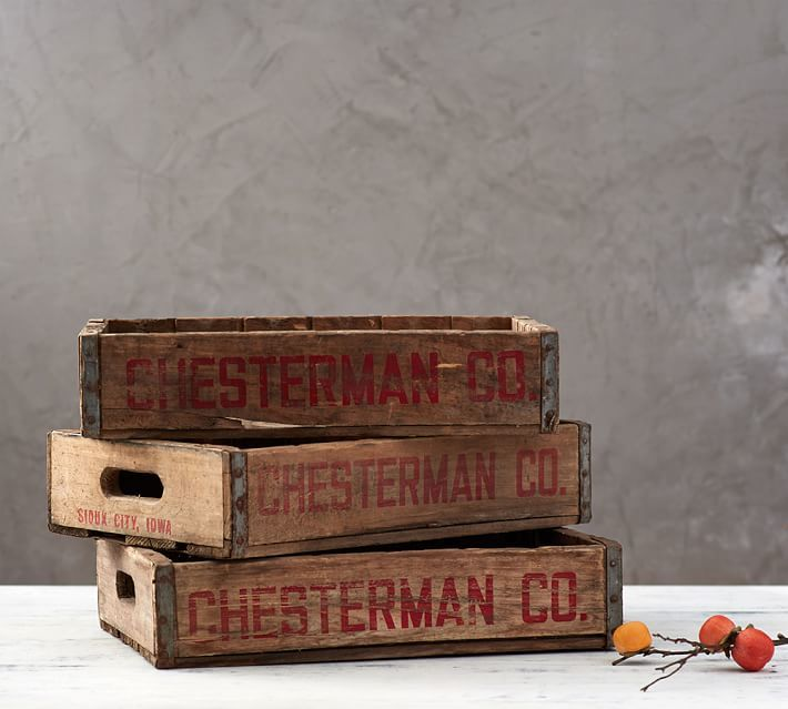 These vintage wooden soda crates were once used to cart bottles to vending machines and restaurants.