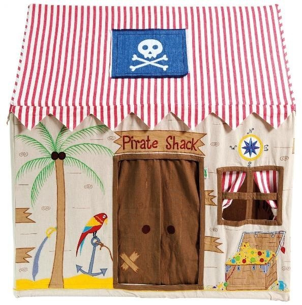 Raise the anchor and ready the men...! This adorable playhouse is embroidered and appliqued with a compass, friendly parrot and a chest of bejeweled treasure. This Pirate Shack sets the scene for your little Pirates to embark on a swashbuckling adventure!