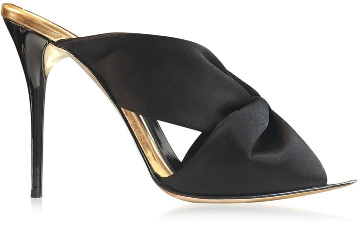 Oscar de la Renta Sophia Black Satin & Specchio High Heel Mule