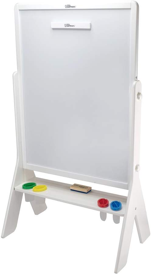 Encourage your child to learn, create and express themselves with this 2-sided art easel that features a chalkboard and dry-erase board