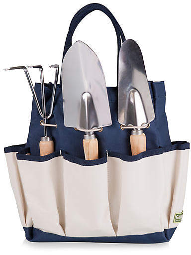 A thoughtful gift for the gardener, this set includes a smartly designed gardening tote and three stainless steel tools with ergonomic wood handles.
