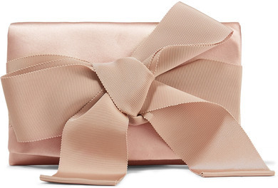 Oscar de la Renta - Bow-embellished Satin Clutch
