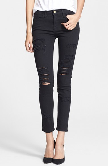 Frame Denim 'Le Color Rip' Skinny Jeans (Film Noir)