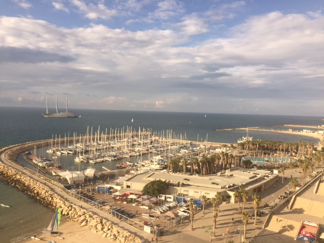 view from my hotel room at the Crowne Plaza Hotel Tel Aviv