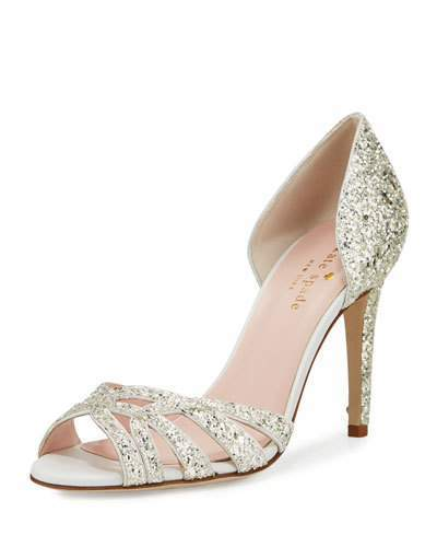 "kate spade new york glitter fabric pump. 4.1"" covered stiletto heel. Tapered strap bands open toe. d'Orsay silhouette."
