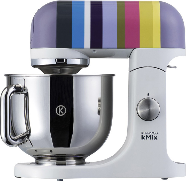 Make mixing easy with this barcelona striped KMix stand mixer from Kenwood. Featuring five different speeds for ultimate versatility, the KMix stand mixer is perfect for baking, especially with its unique fold function that helps keep air in the mixture. The full safety interlocks provide full security and if the head is lifted, the machine automatically shuts off. Also available in fire cracker stripes, the barcelona striped KMix stand mixer makes the perfect addition to any kitchen and comes with a splashguard, spatula & whisk.
