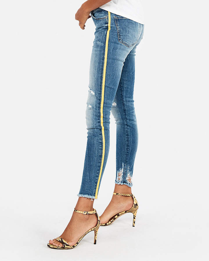 Express Mid Rise Side Stripe Stretch Ankle Jean Leggings