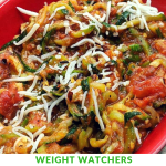 This Zucchini Spaghetti Recipe is Zero points on the Weight Watchers Freestyle Plan