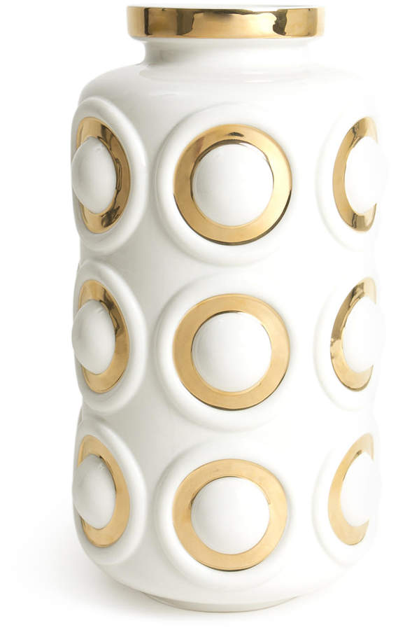 Golden Glamour. High-fired porcelain and accented with 16-karat gold. A Modernist concentric circle motif comes head to head with socialite glamour for the Futura Circles Vase.