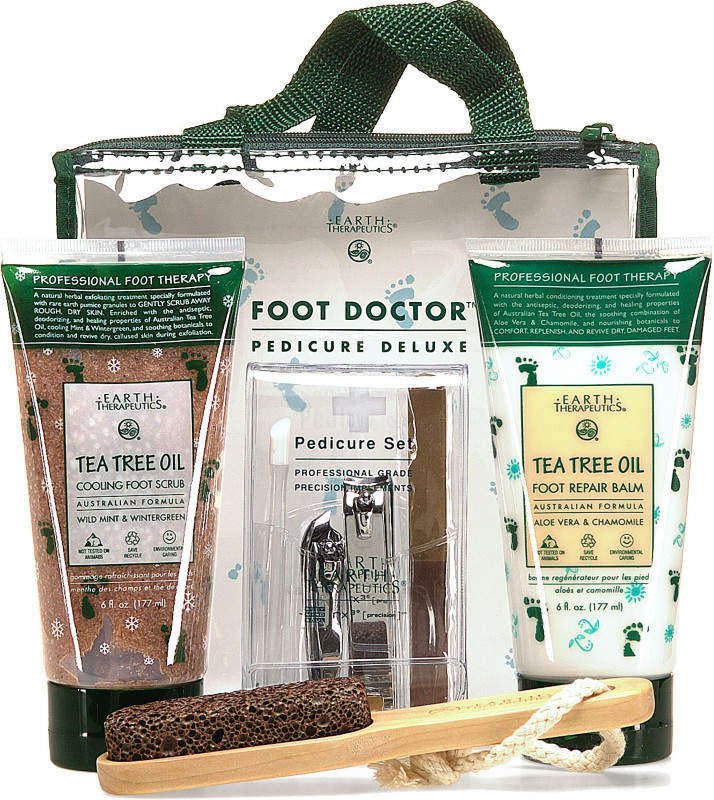 The Foot Doctor Pedicure Deluxe kit includes a 4-piece Professional Grade Pedicure Set, 6 Oz. Tea Tree Oil Foot Repair Balm, Pumice Stick, and a 6 Oz. Tea Tree Oil Cooling Foot Scrub