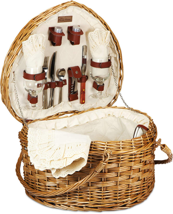 Who doesn't love a picnic? The Heart basket from Picnic Time caters to those who do with its whimsical design and all the necessities for an enjoyable outdoor dining experience. Lovebirds swoon over the heart-shaped, woven-willow Heart Picnic Basket, a picnic set designed for deluxe picnic, wine, and cheese service for two. The plush fully-lined interior, napkins, and tablecloth come in lovely antique white, and the porcelain plates, hand-blown wine glasses, silverware and hardwood cutting board.