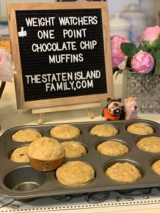 Weight Watchers one point FULL SIZED chocolate chip muffins.